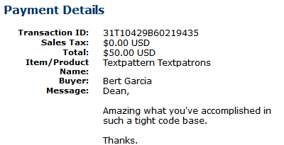 PayPal donation to Dean Allen on 12/4/2005