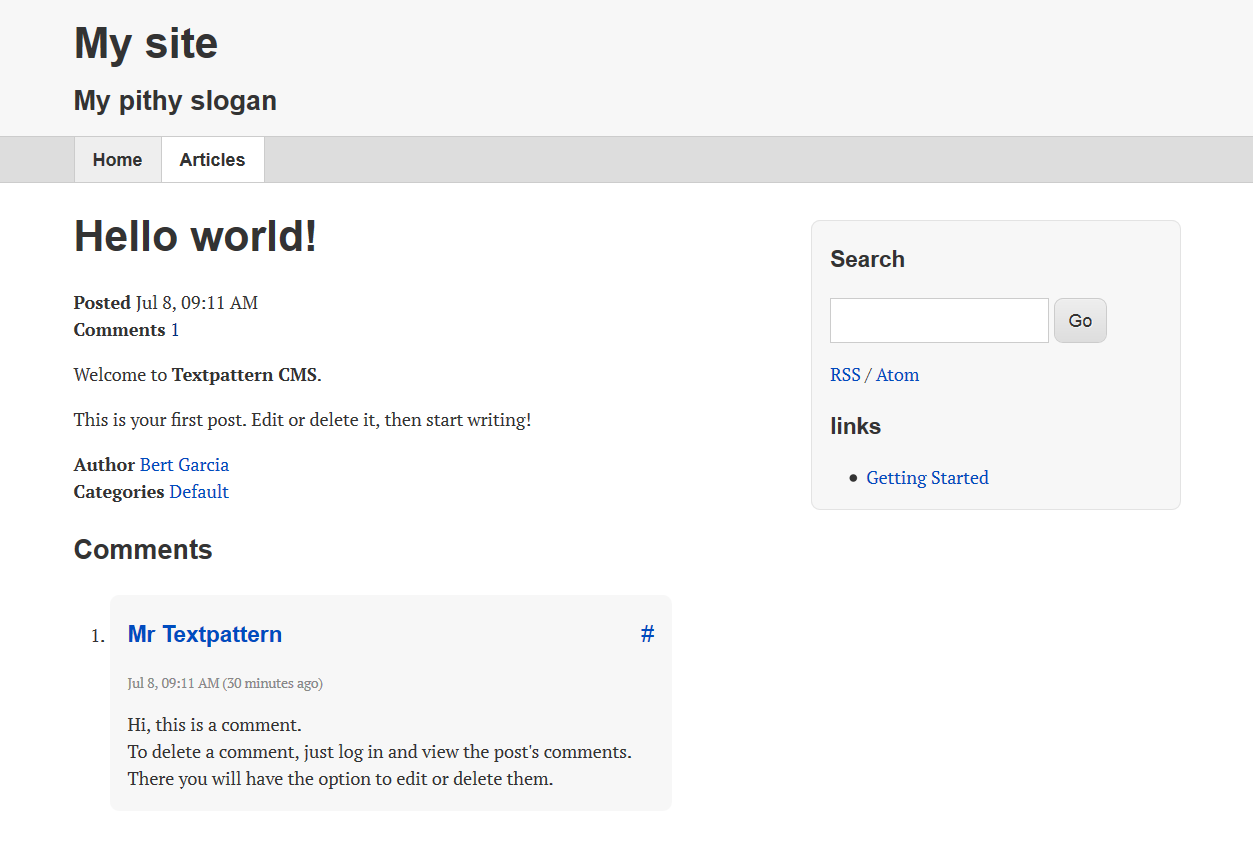 Hello World default install